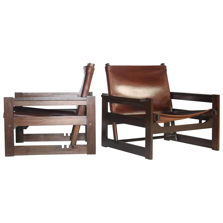 leather sling chairs chair office depot brazilian modern jacaranda and saddle at 1stdibs