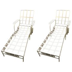 Patio Chairs With Footrests Oversized Chair Twin Sleeper Salterini Mt Vernon Pair Of Two-piece Chaises, Neva-rust Finish At 1stdibs