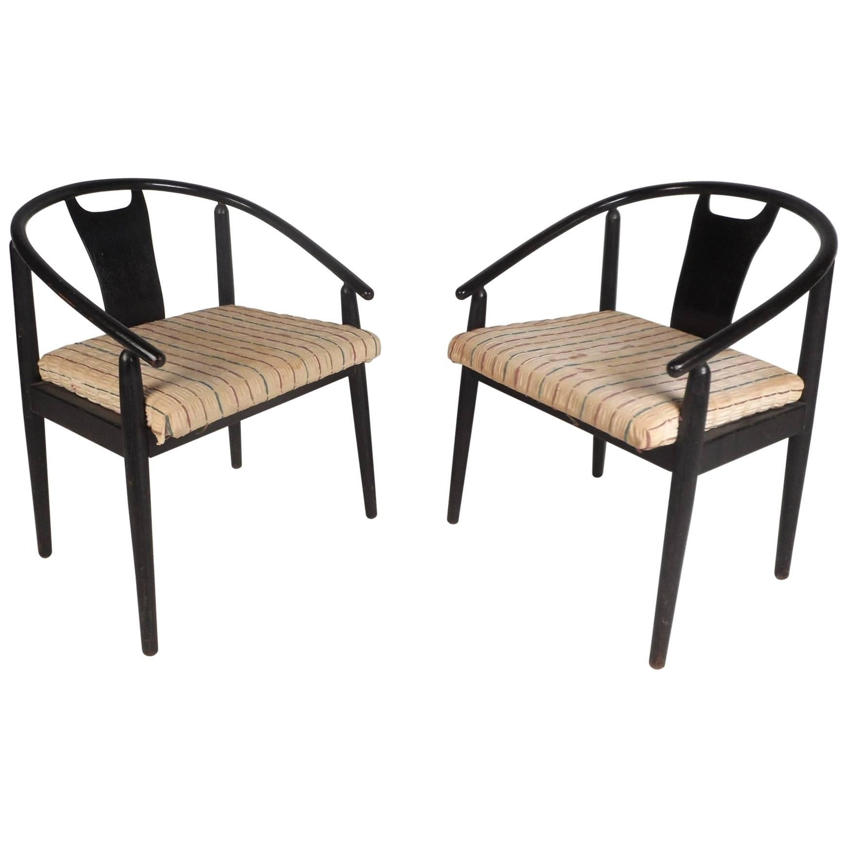 mid century barrel dining chair steel making machine pair of modern back side chairs at 1stdibs