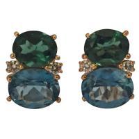 Medium GUM DROP Earrings with Tsavorite and Dark Blue ...