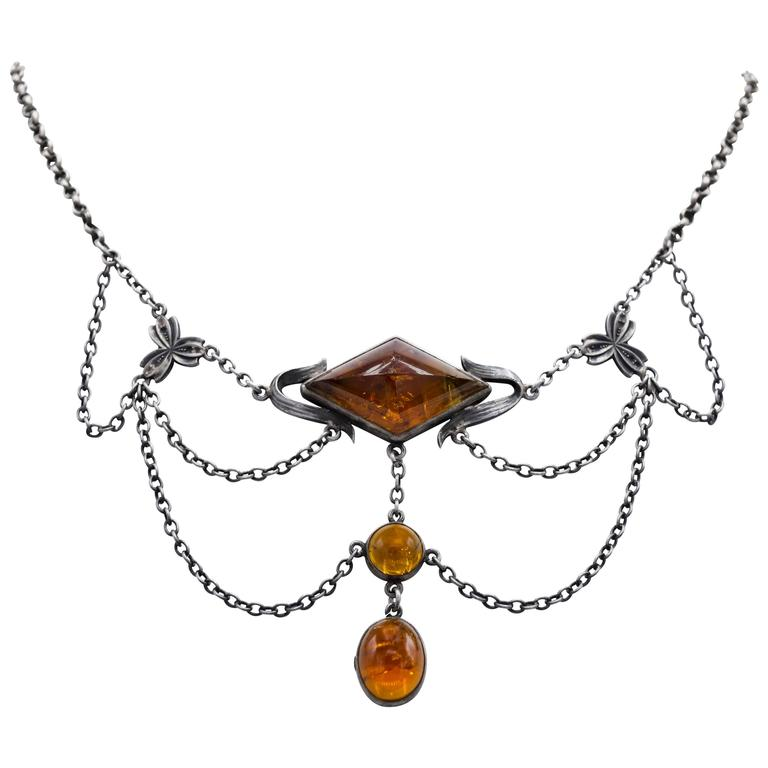 Citrine Oxidized Silver Draped Arts and Crafts Necklace