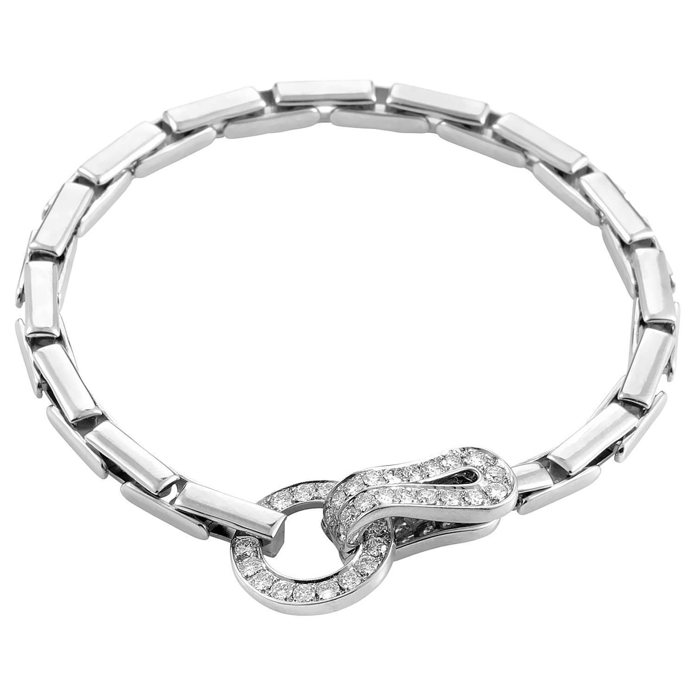 Cartier Agrafe Diamond Gold Hook Bracelet For Sale At 1stdibs