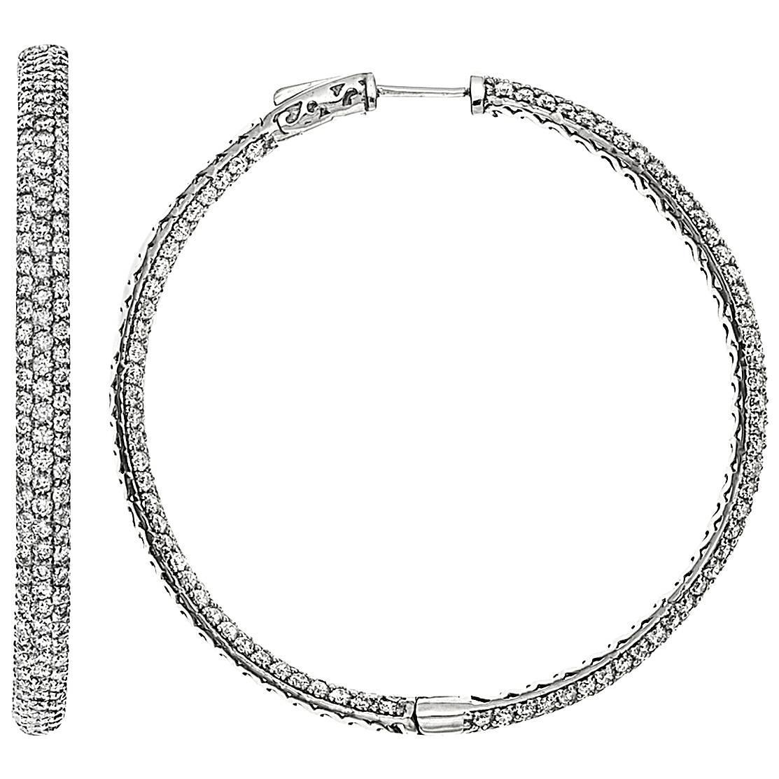 3 Row Micro Pave Diamond Gold Platinum Hoop Earrings For