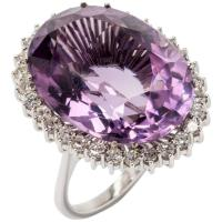 Large Amethyst Diamond White Gold Cocktail Ring For Sale ...