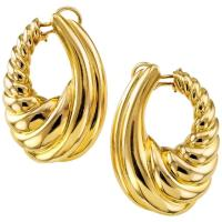 Large Gold Hoop Clip-On Earrings For Sale at 1stdibs