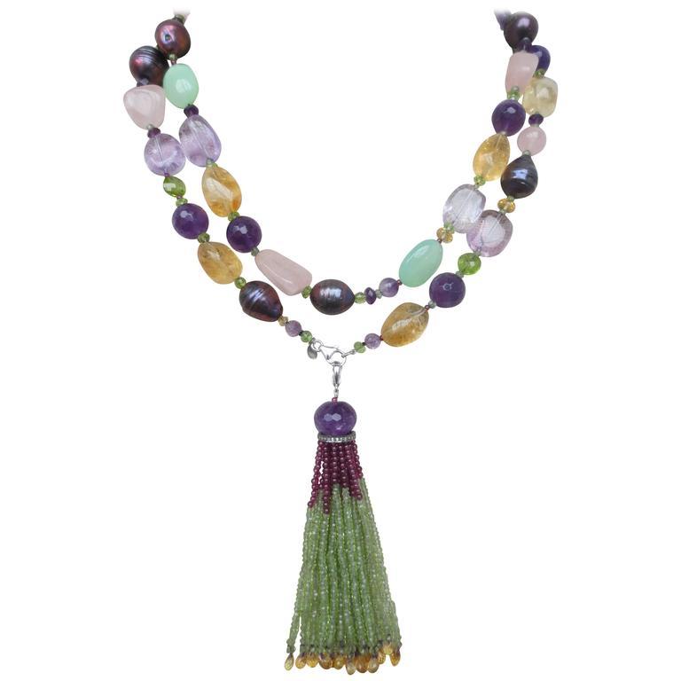 Multi Gemstone Long Lariat Necklace With Semi Precious