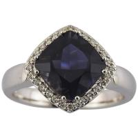 Deep Sea Sapphire Diamond Gold Ring at 1stdibs