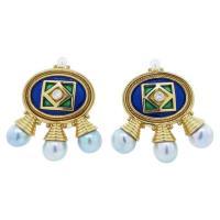 ELIZABETH GAGE Enamel Pearl and Diamond Earrings For Sale