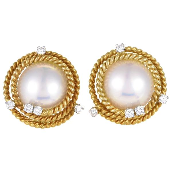 Tiffany And . Schlumberger Pearl Diamond Gold Earrings