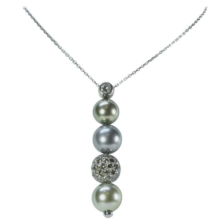 Marion Jeantet Tahitian Pearl Diamond Gold Pendant For