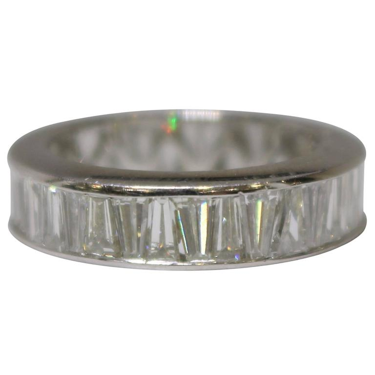 Channel Set Tapered Baguette Diamond Wedding Ring For Sale