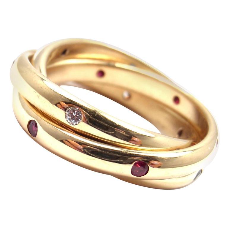 Cartier Trinity Ruby Sapphire Diamond Yellow Gold Band
