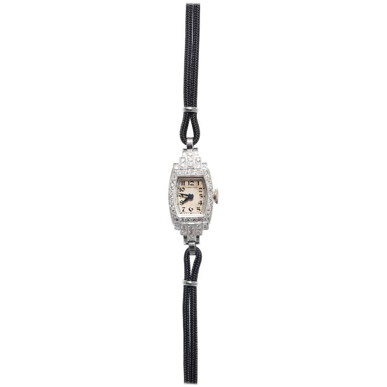 Hamilton Ladies Platinum Diamond Art Deco Wristwatch at