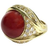 Large Coral Diamond Yellow Gold Cocktail Ring For Sale at ...