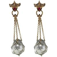 Australian Pearl Ruby Diamond Gold Dangle Earrings For ...