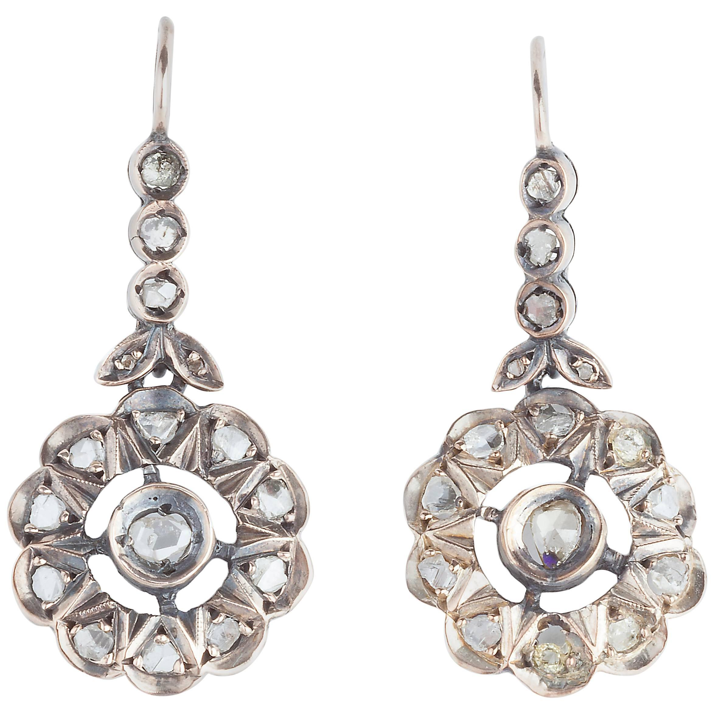 Edwardian Rose Cut Diamond Earrings For Sale at 1stdibs