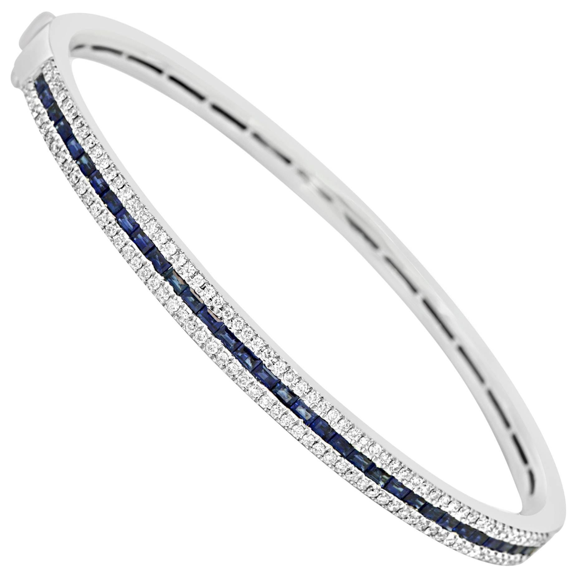 Blue Sapphire Diamond Gold Bangle Bracelet For Sale At 1stdibs