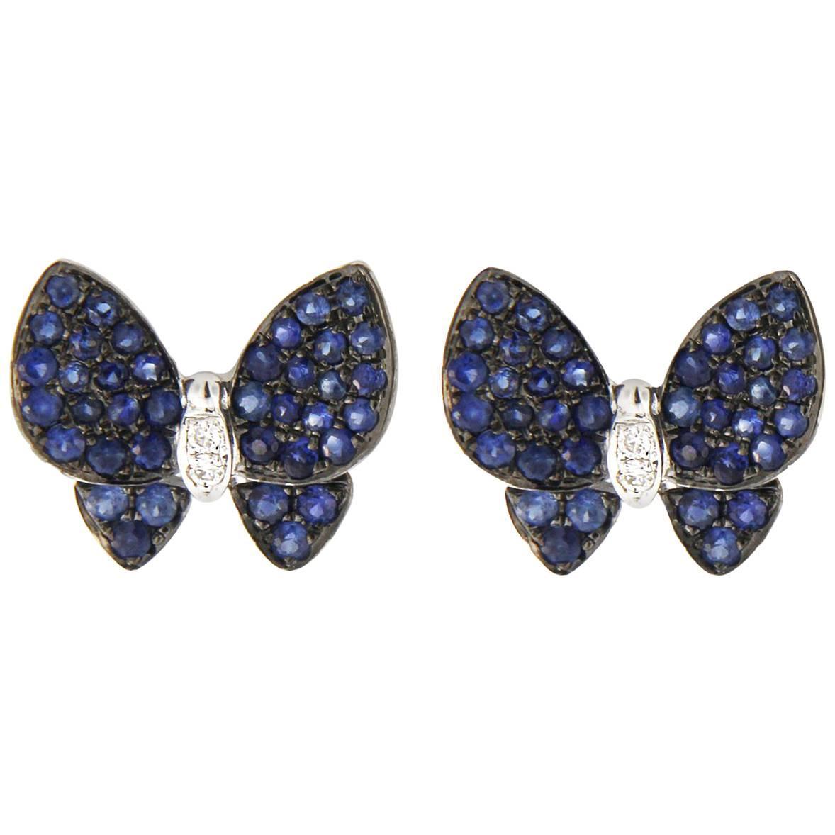 Jona Blue Sapphire Diamond White Gold Butterfly Earrings