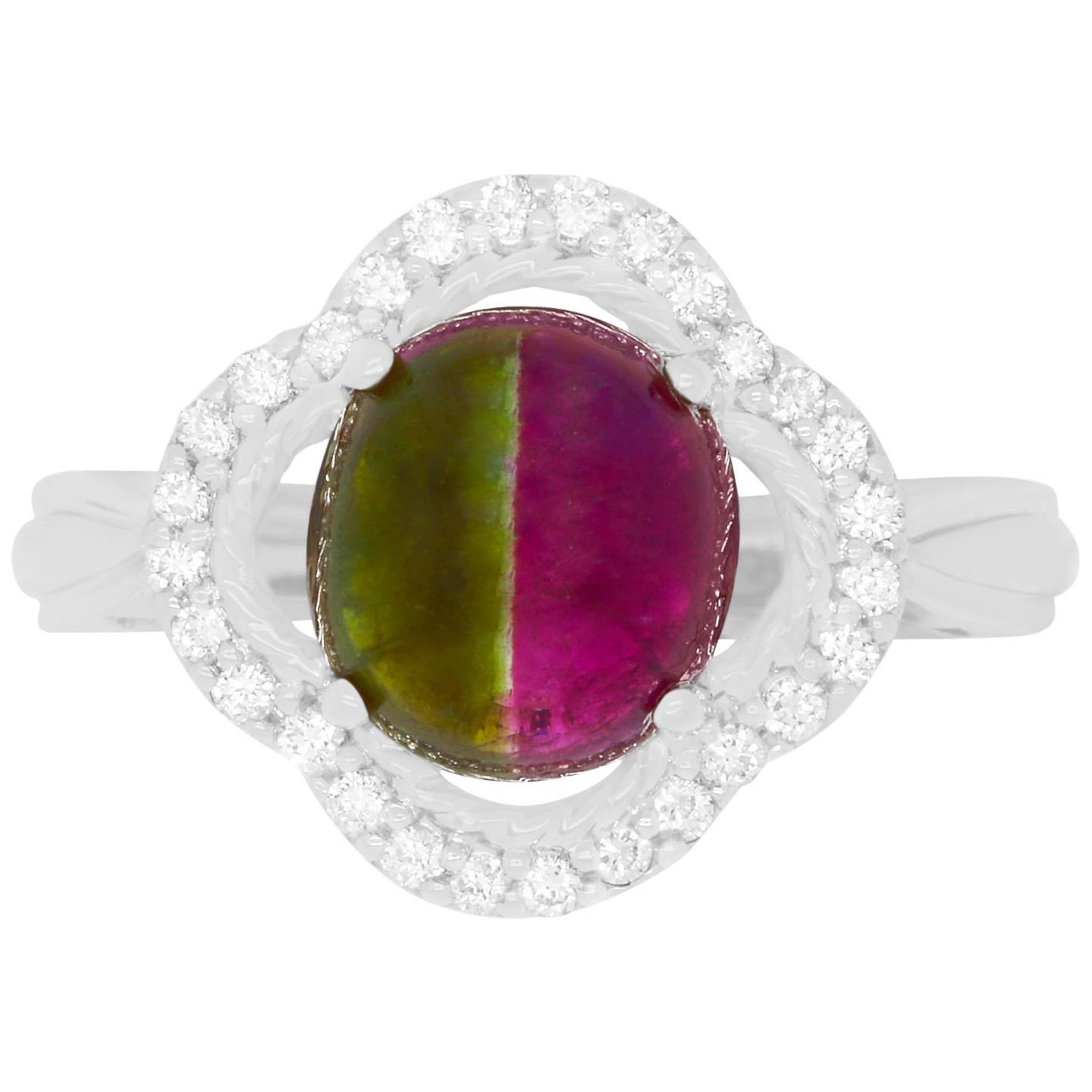 311 Carat Bicolor Watermelon Tourmaline and Diamond Ring For Sale at 1stdibs