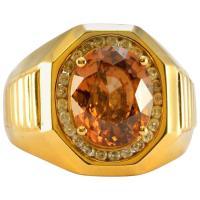 Men's 14 Karat Yellow Gold 1 Carat Diamond Right Hand Ring ...