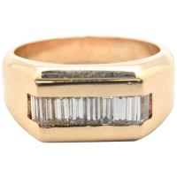 Mens 14 Karat Yellow Gold and 0.45 Carat Baguette Diamond ...