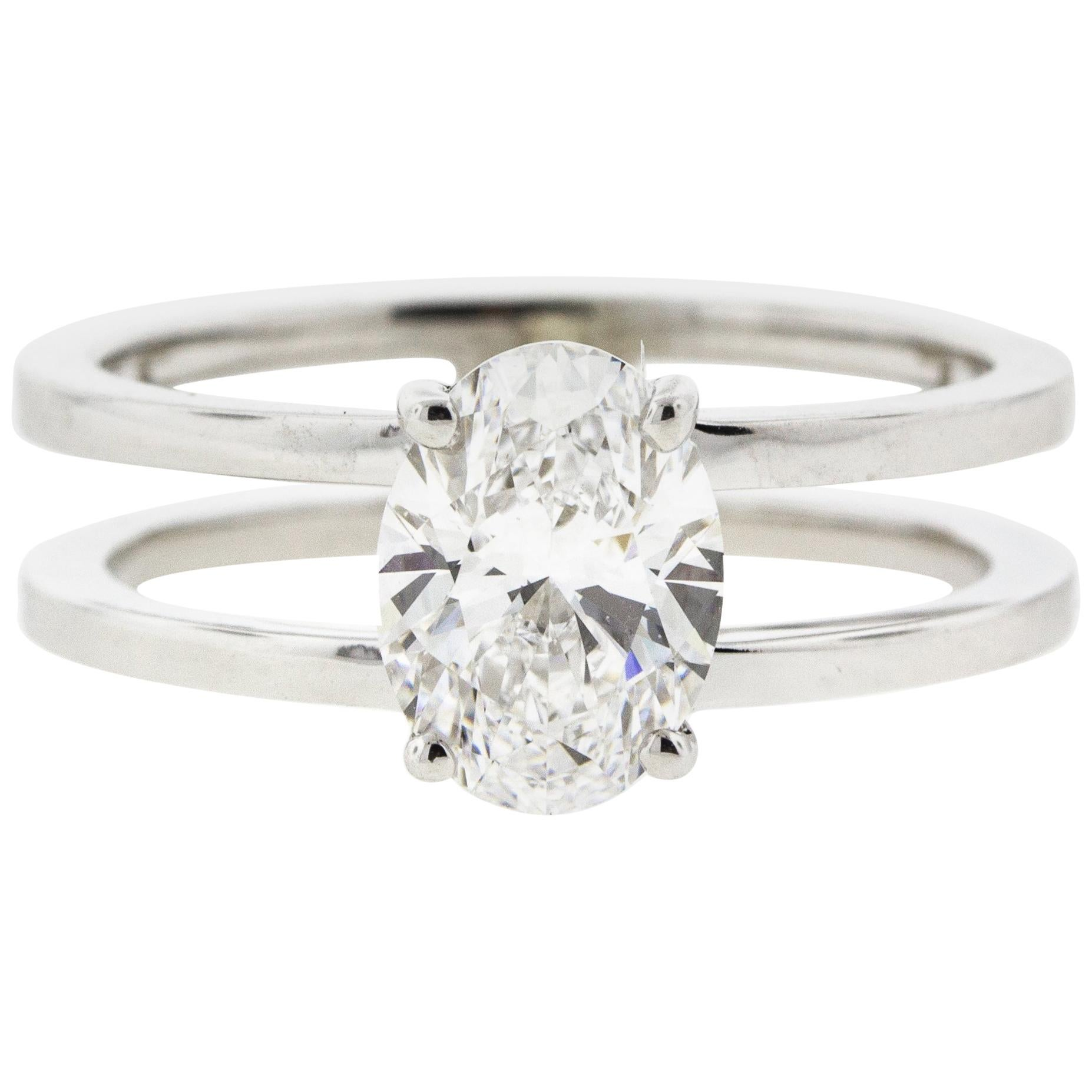 Double Band Oval Diamond Engagement Ring Split Shank For Sale at 1stdibs