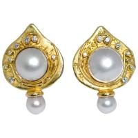 Elizabeth Gage Shiraz Pearl Gold Earrings at 1stdibs