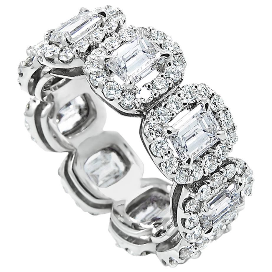 Emerald Cut Diamond Gold Eternity Band Ring With Halo For