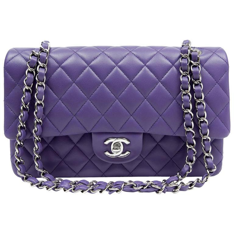 Chanel Purple Lambskin Double Flap Classic Medium Size At