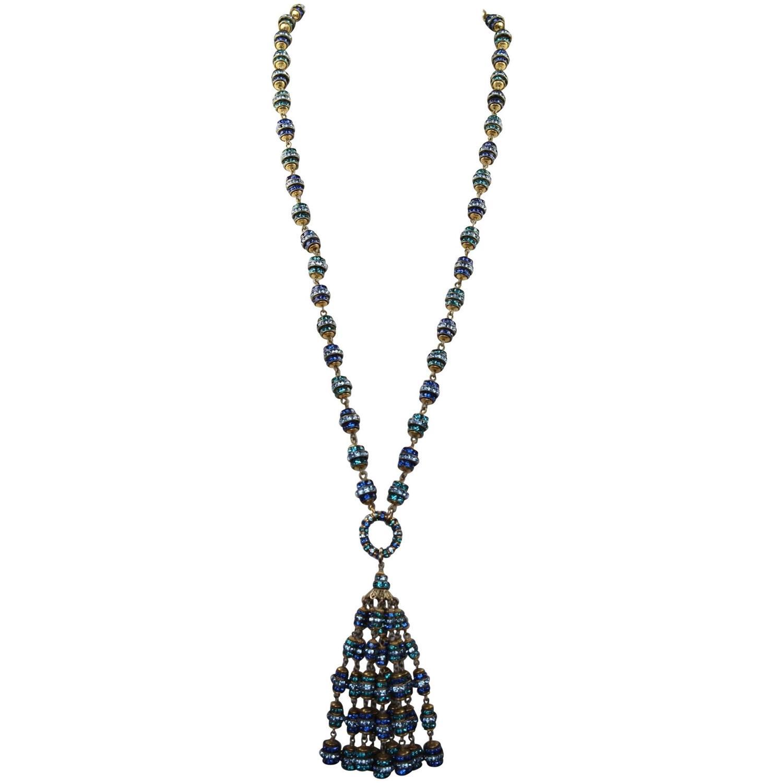 Francoise Montague Long Blue Crystal Tassel Necklace at