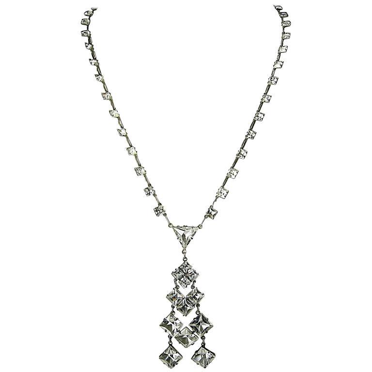 Vintage 1920s Sterling Deco Crystal Necklace at 1stdibs