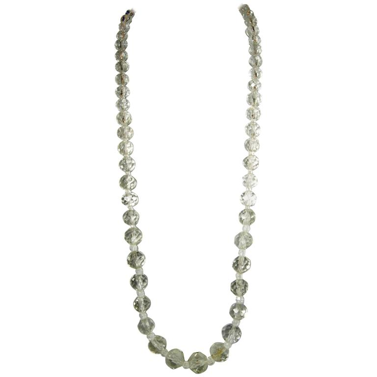 Vintage 1940s Crystal Bead Necklace at 1stdibs