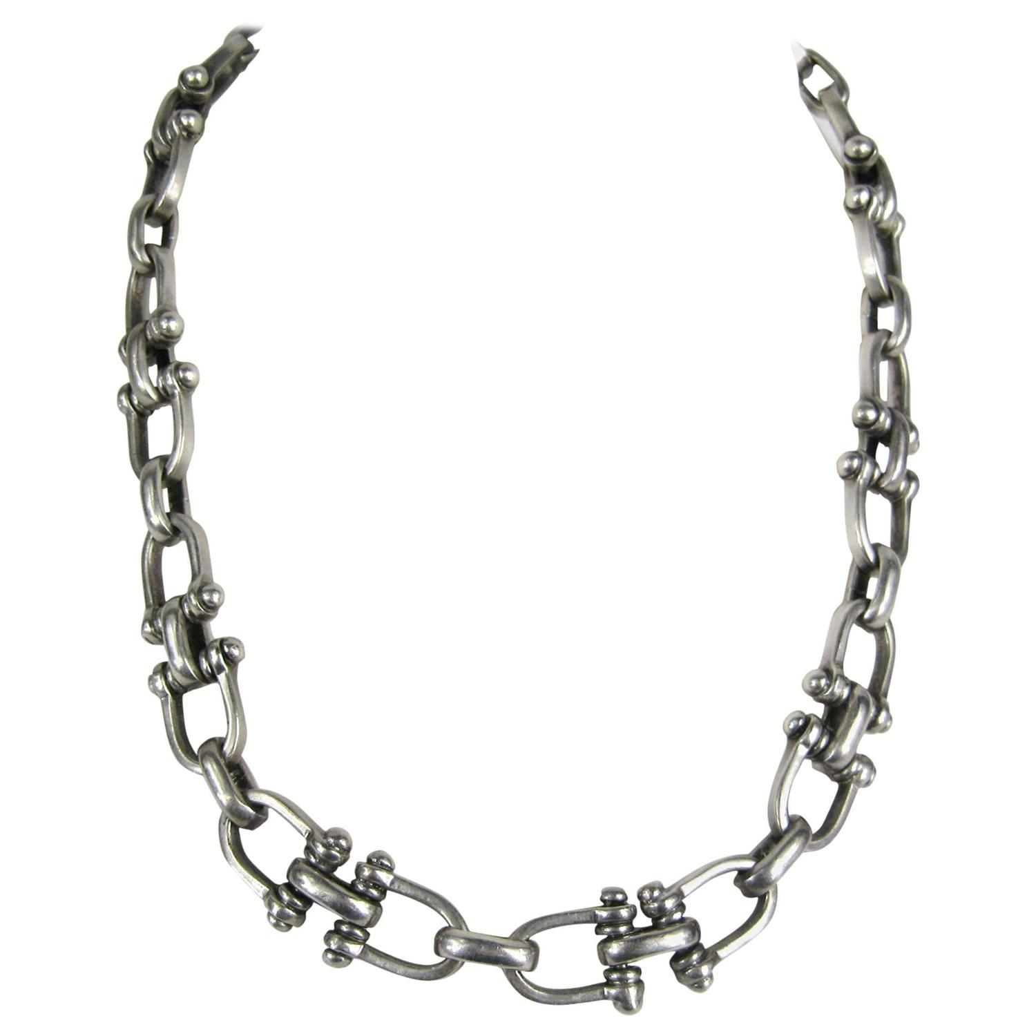 Heavy Sterling Silver Taxco Vintage Link Necklace For Sale