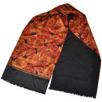 "Geoffrey Beene ""Autumn Leaves"" Silk with Black Cashmere ..."