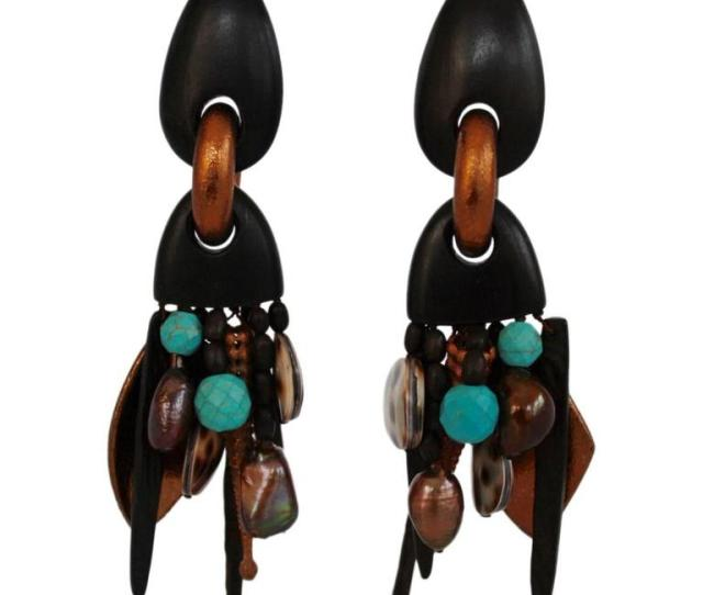 Monies Pearl Ebony Copper Shell And Turquoise Statement Clips For Sale