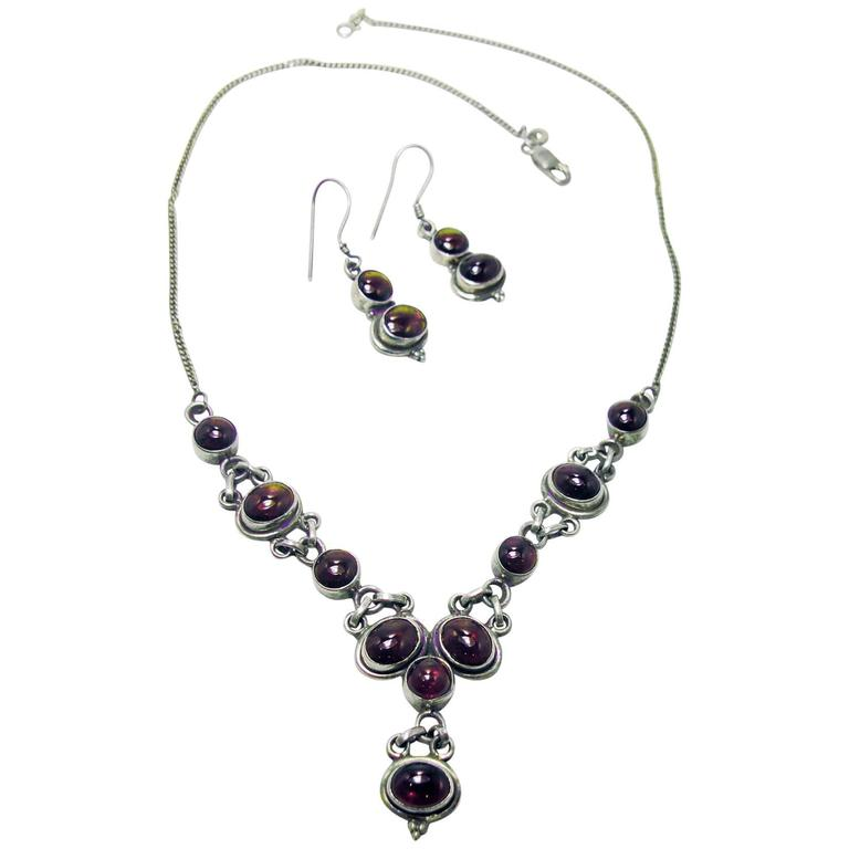 Vintage 1940s Sterling Silver Garnet Necklace and Earring