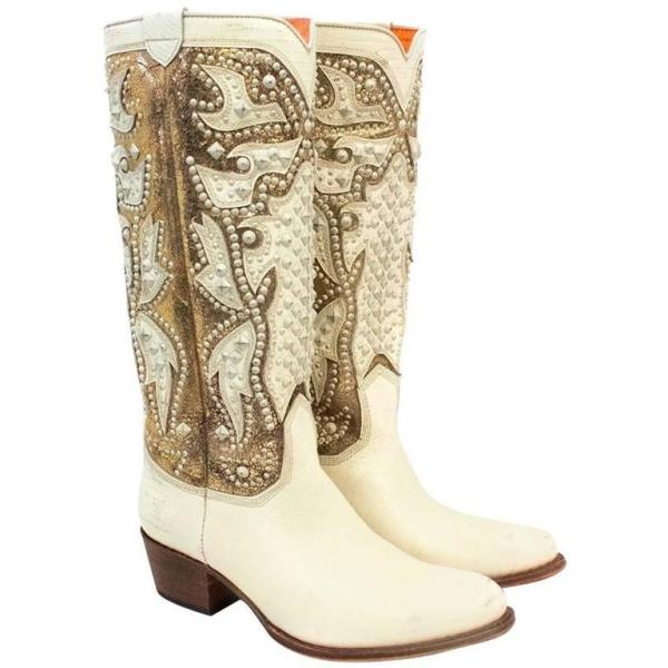 Frye Gold And Cream Studded Tall Cowboy Boots For Sale at