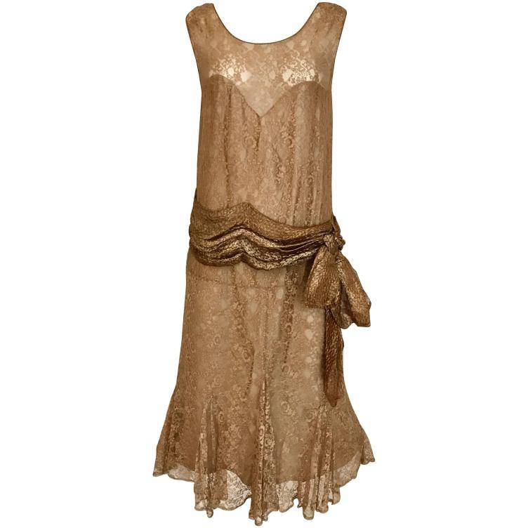 1920s Mocha Metallic Lace Flapper Dress For Sale at 1stdibs