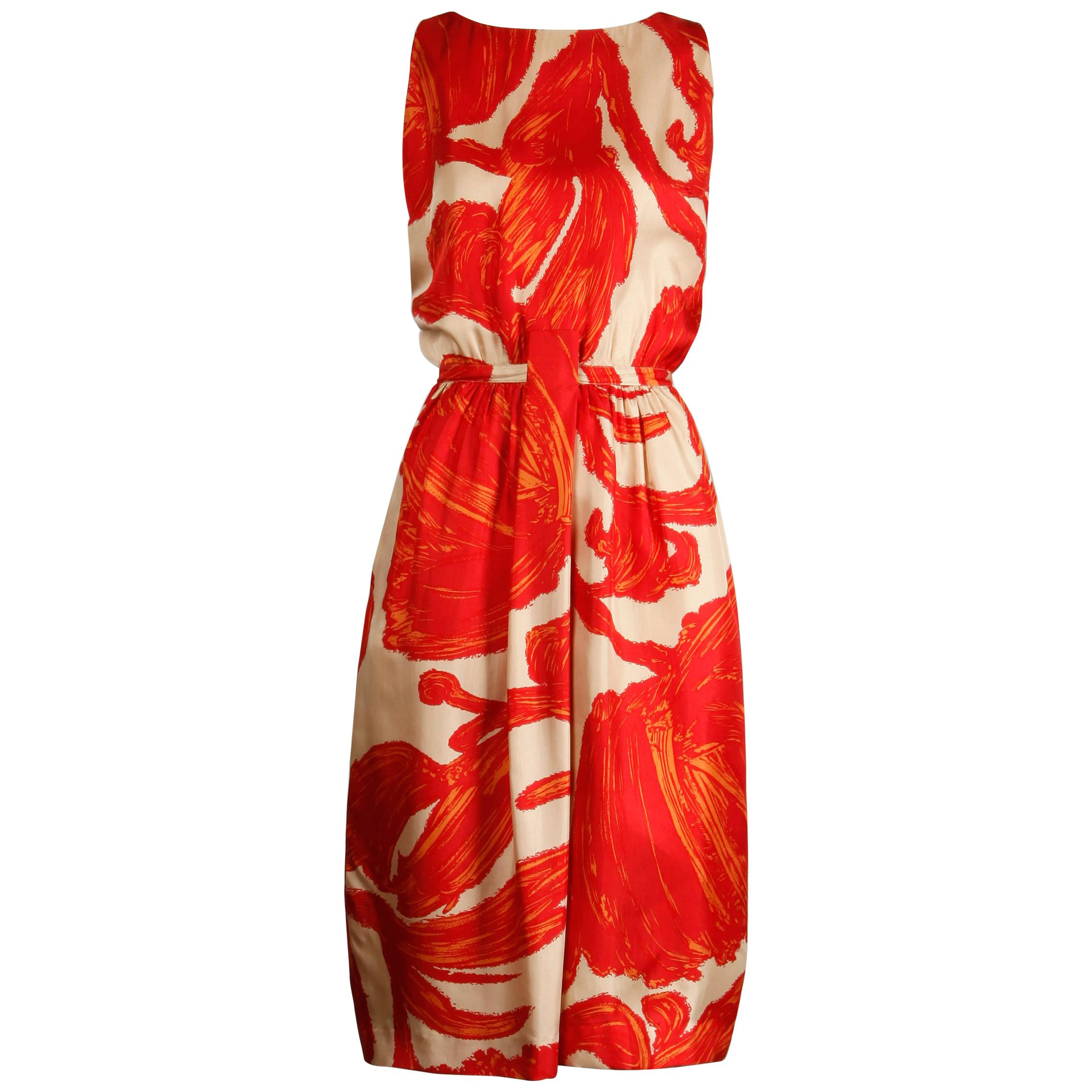 1963 BH Wragge Vintage Red Orange Beige Silk Midcentury