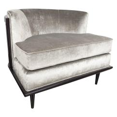 Grey Velvet Slipper Chair Walmart Lounge Folding Ultra Chic Mid Century Curved Back In Smoked