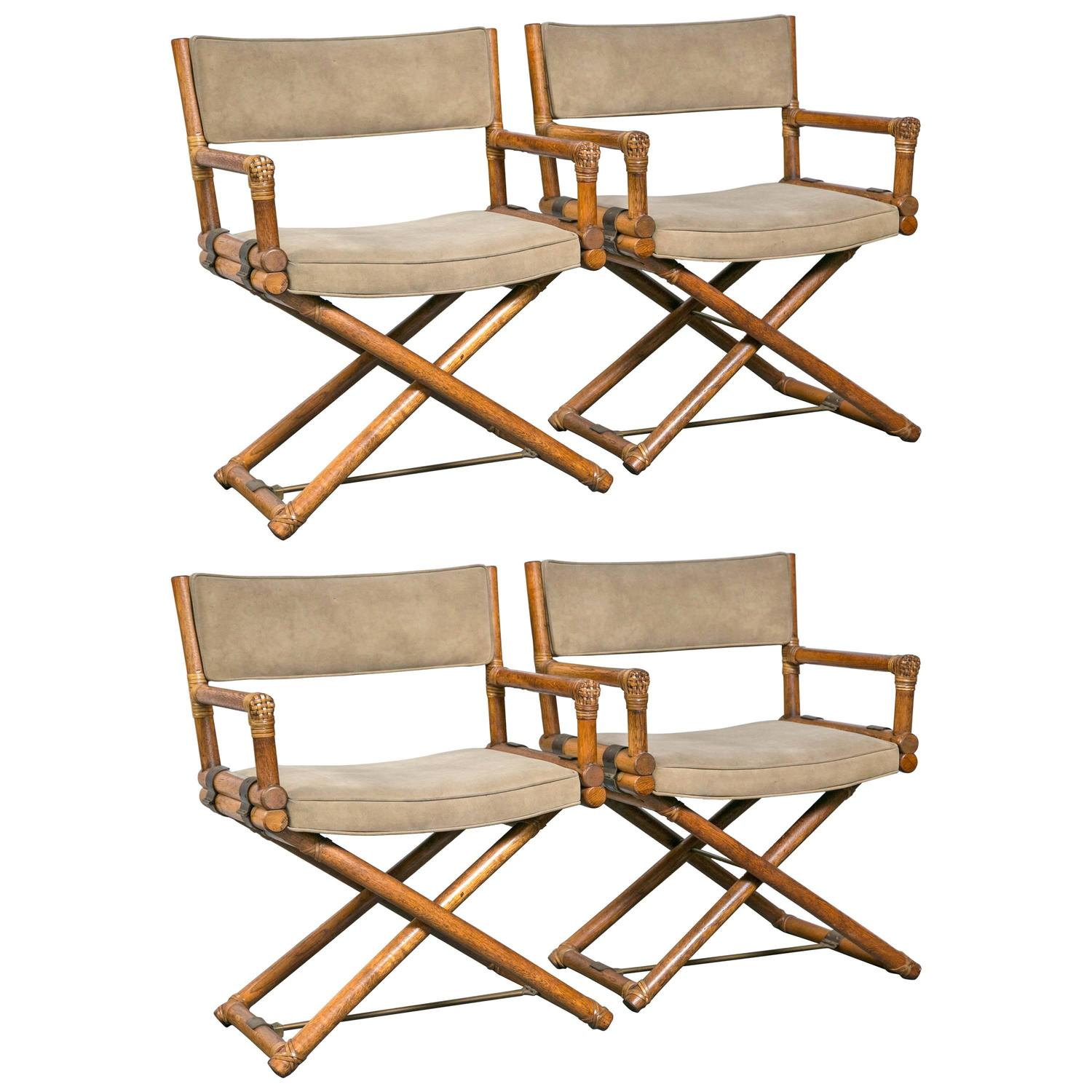 bamboo directors chairs ergonomic chair in mauritius set of four mcguire faux director at 1stdibs