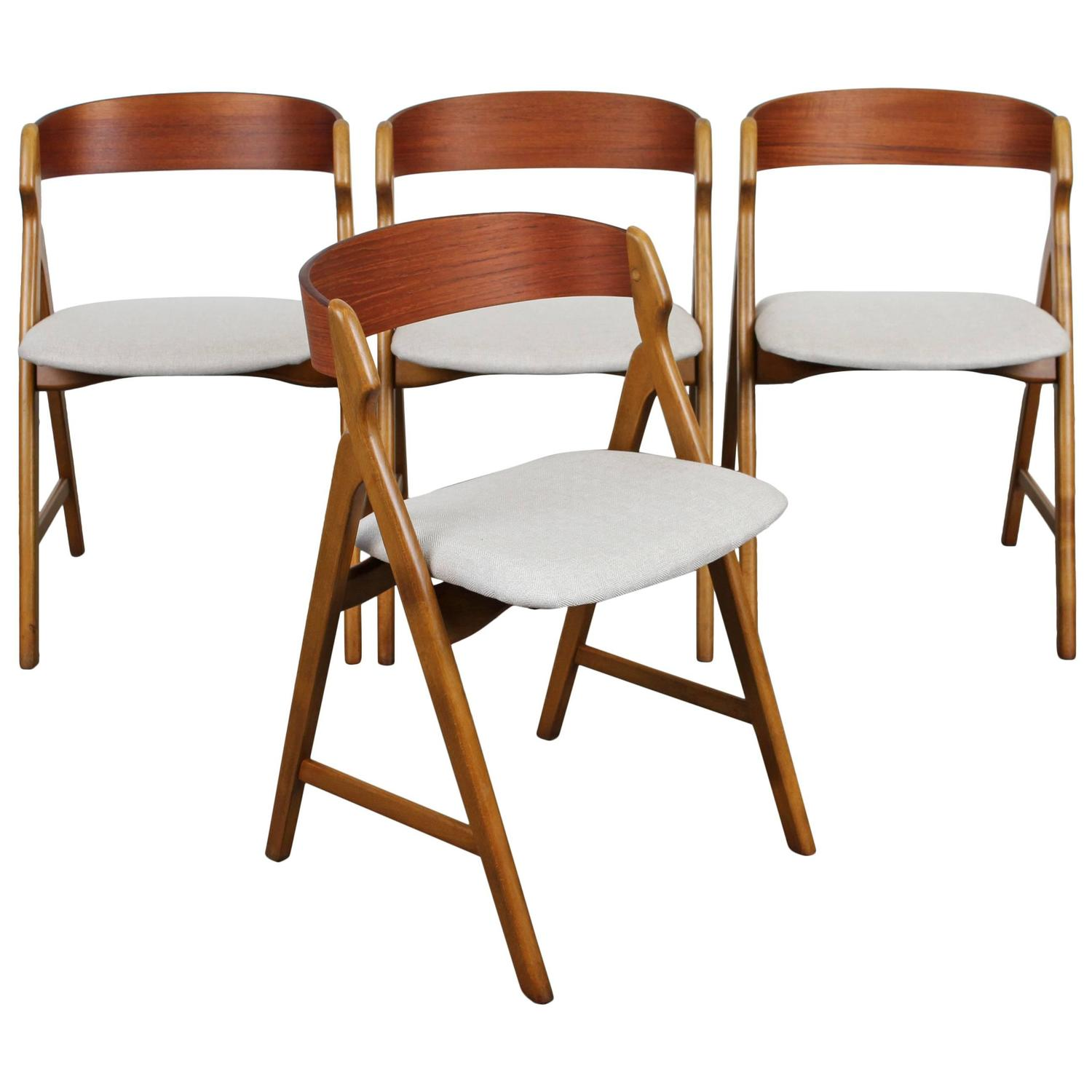 mid century dining chairs chair covers for wingback set of four danish modern teak