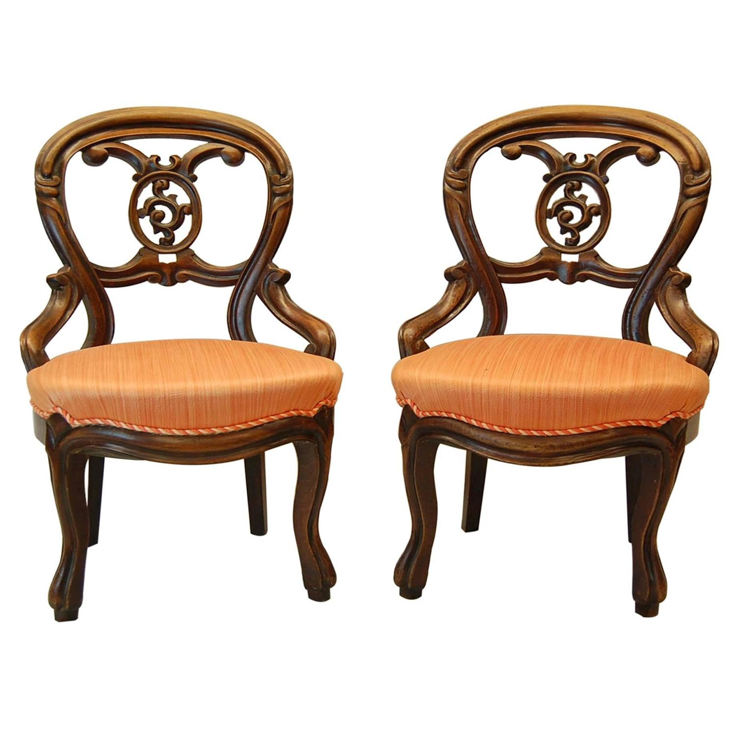 victorian parlor chairs yoga office chair dragons den pair walnut carved circa 1870 for