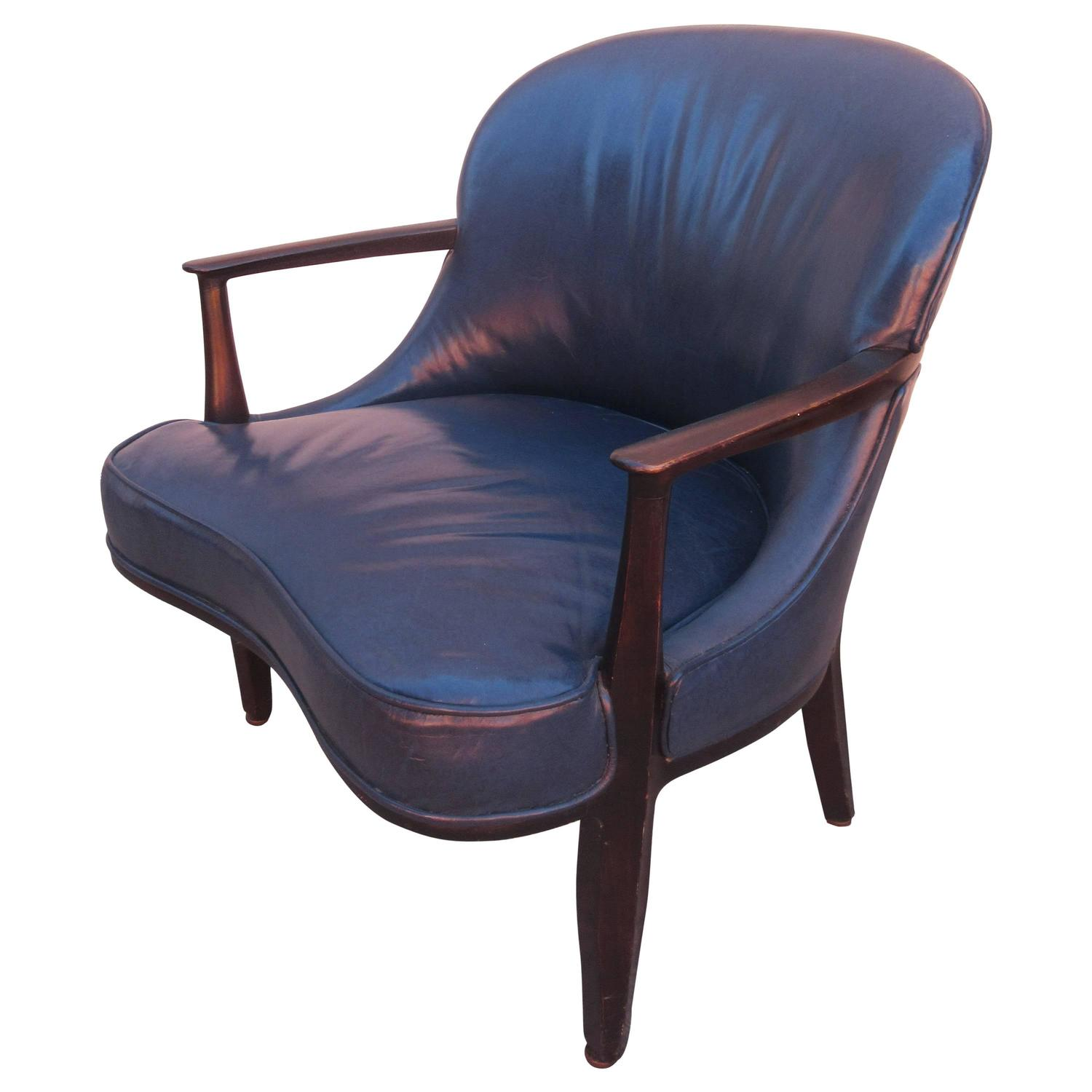 Blue Leather Club Chair Edward Wormley For Dunbar Janus Collection Blue Leather