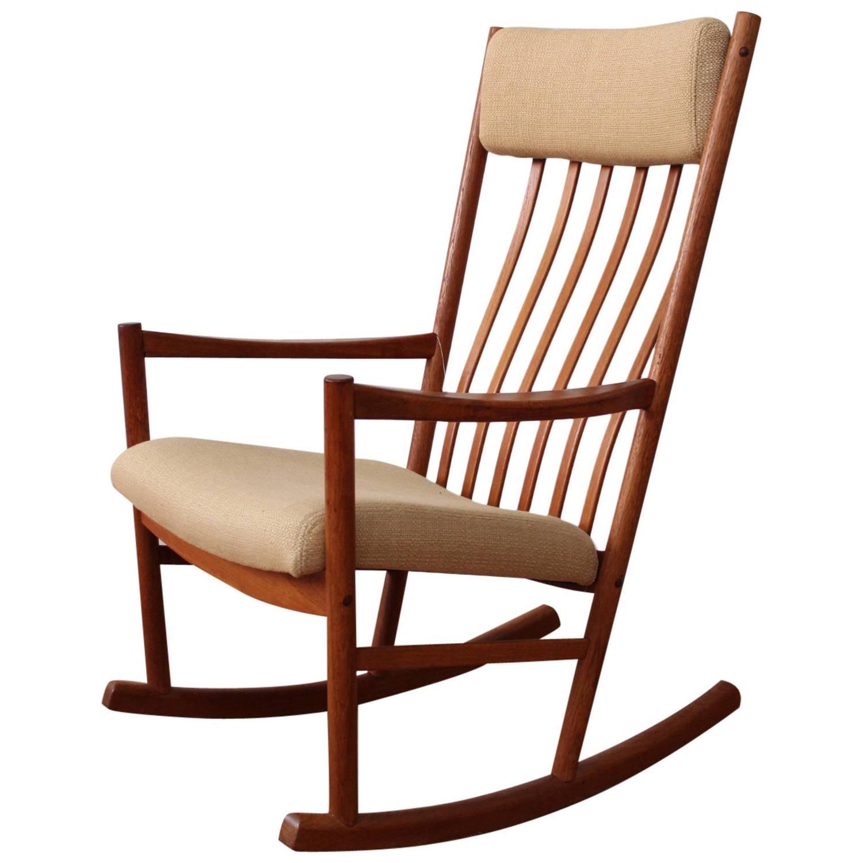 danish modern rocking chair swivel sling patio chairs teak at 1stdibs