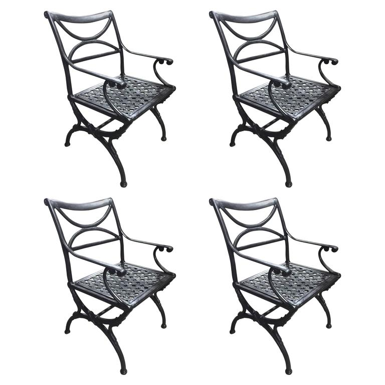 Set of Four Wrought Iron Chairs at 1stdibs