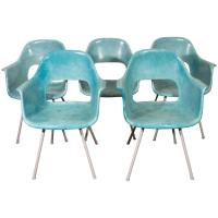 Set of Five Turquoise Fiberglass Armchairs in the Style of ...