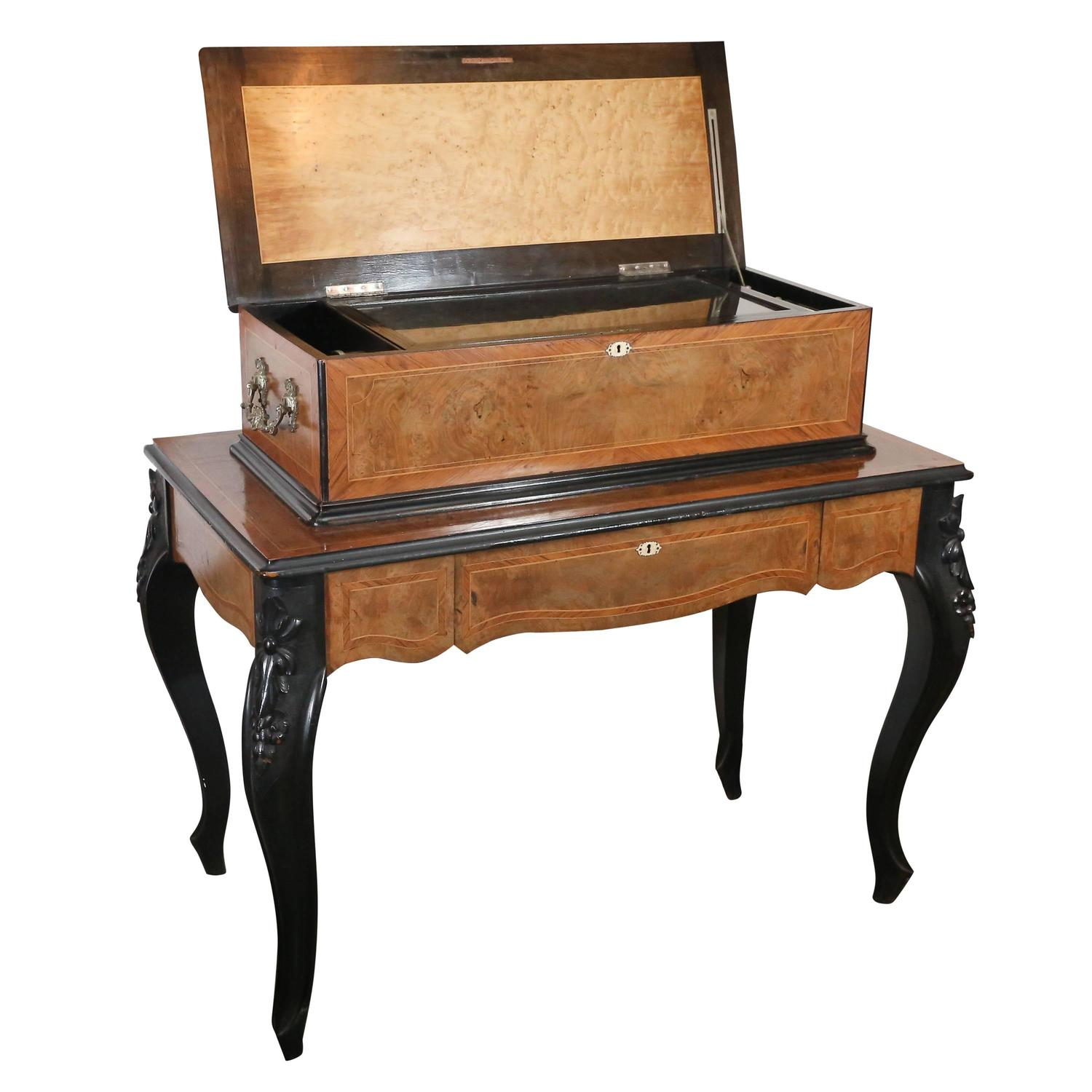 chair box stand thomas jefferson swivel burl and ebonized music on with drawer for sale