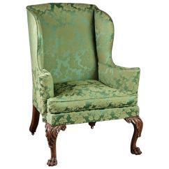 Upholstered Wingback Chair Reclining Outdoor With Footrest Finely Carved And Walnut English Georgian 18th