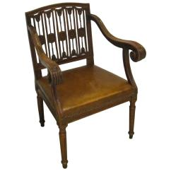 Chair With Desk Arm Fold Up Bed 19th Century Scroll And Leather Seat